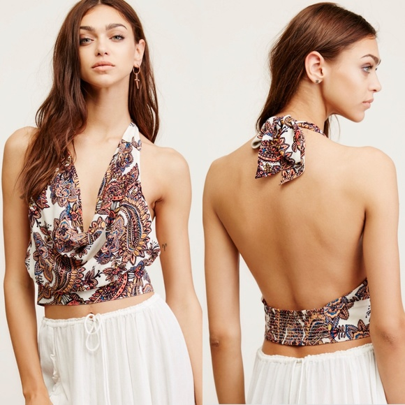 b84f98716d71ca Free People Tops - Free People Forever Young Halter Crop Top Paisley
